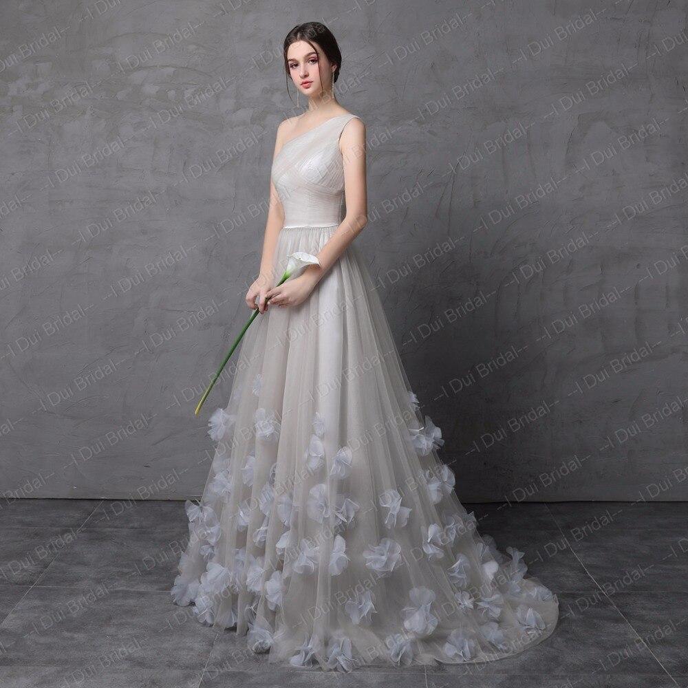 One Shoulder Handmade Flower Evening Dresses Tulle Floral Decoration Formal Dress - 3