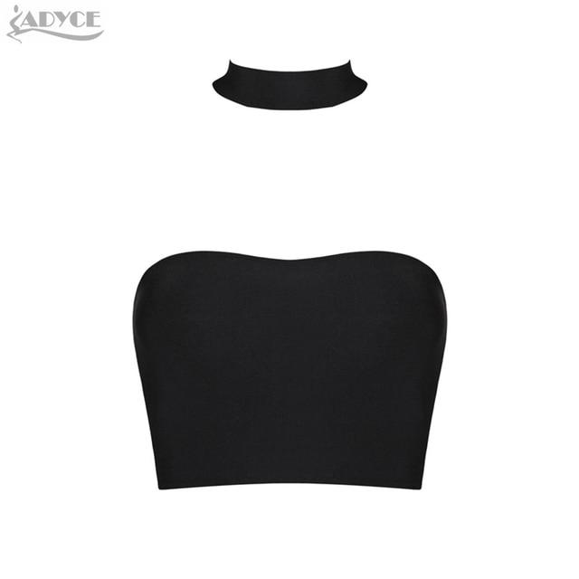 2016 New Black Sexy Women Bandage Fashion Crop Top halter back zipper off shoulder celebrity runway club party bandage tank vest