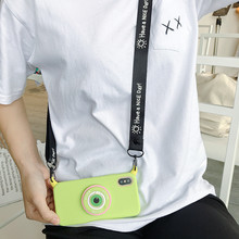 Large Eyes Camera Crossbody Strap Phone Case for iPhone X XR XS MAX 8 8Plus 7 7Plus 6 6s Plus Fresh Green Holder Shockproof