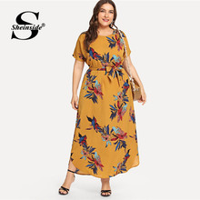 Sheinside Plus Size Casual Floral Print Belted Dress Women 2019 Summer Short Sleeve Straight Maxi Dresses Ladies Chiffon Dress(China)