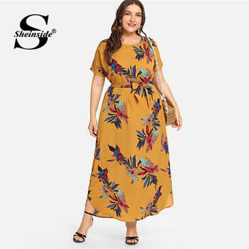 Sheinside Plus Size Casual Floral Print Belted Dress Women 2019 Summer Short Sleeve Straight Maxi Dresses Ladies Chiffon Dress - DISCOUNT ITEM  45% OFF All Category