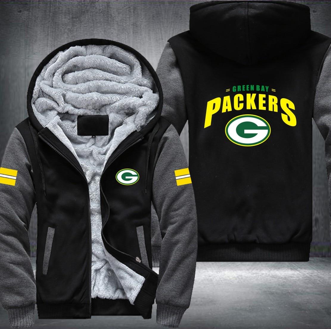 USA Plus Größe Green Bay football herren frauen Druckmuster Verdicken Fleece Zipper Hoodies Sweatshirts Mantel Jacke