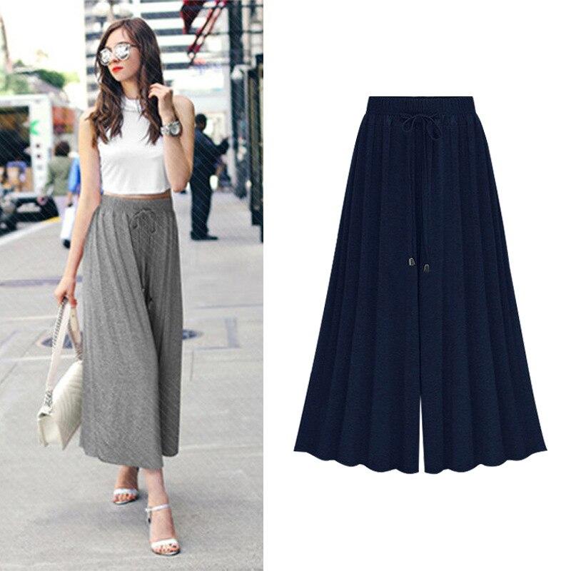 Plus-Size-Women-Pants-Summer-Streetwear-High-Waist-Loose-Wide-Leg-Pants-Cotton-Modal-Elastic-Waist (1)
