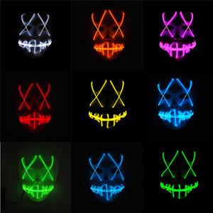 Led-Mask Mouth-Face-Mask-Prop Festival Scary Halloween Hot Cosplay Costume El-Wire Movie