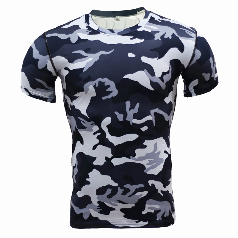 Nya 2017 Baslag Camouflage T-shirt Fitness Tights Snabba Torka Camo T-shirts Toppar & Tees Crossfit Compression Shirt