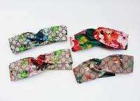 Kobiety Pałąk Turban Twist Kwiatowy Print Dziewczyna dragonfly motyle hummingbirds Silk Satin Hair Akcesoria Elastyczna opaska na Głowę