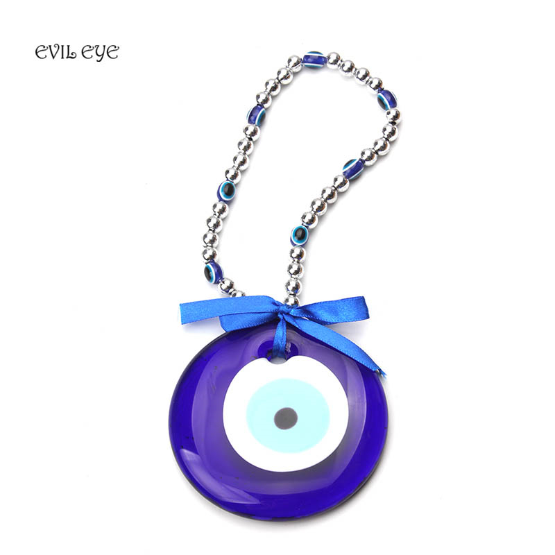 1pc 25cm Ethnic Style Blue Glass Evil Eye Car Key Chain Home Decoration Pendant Exquisite Gifts Decoration Jewelry