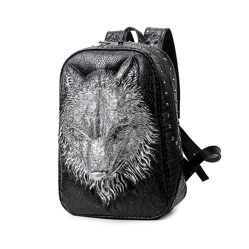 High Quality Restore 3D Emboss Stereo Wolf Unsex Leather Backpack Leisure Bagpak Large Capacity School Bags RucksackHigh Quality Restore 3D Emboss Stereo Wolf Unsex Leather Backpack Leisure Bagpak Large Capacity School Bags Rucksack