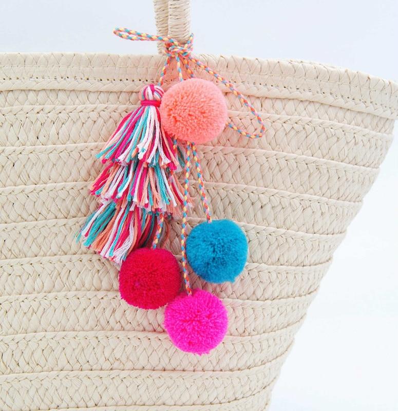 New Colorful Pom Pom Tassels Bohemian For Purse Accessories Bag Decoration Pendan Beach Straw Bag Handbag Cloths Summer Fashion