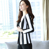 Striped temperament was thin suit jacket female autumn short section 2017 new fashion Slim professional small coat