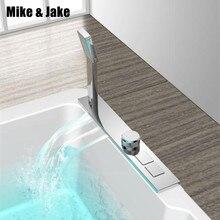 Banheira cachoeira torneira quente e fria misturador do banho com botão de imprensa banheiro misturador do chuveiro cachoeira banho quente e fria