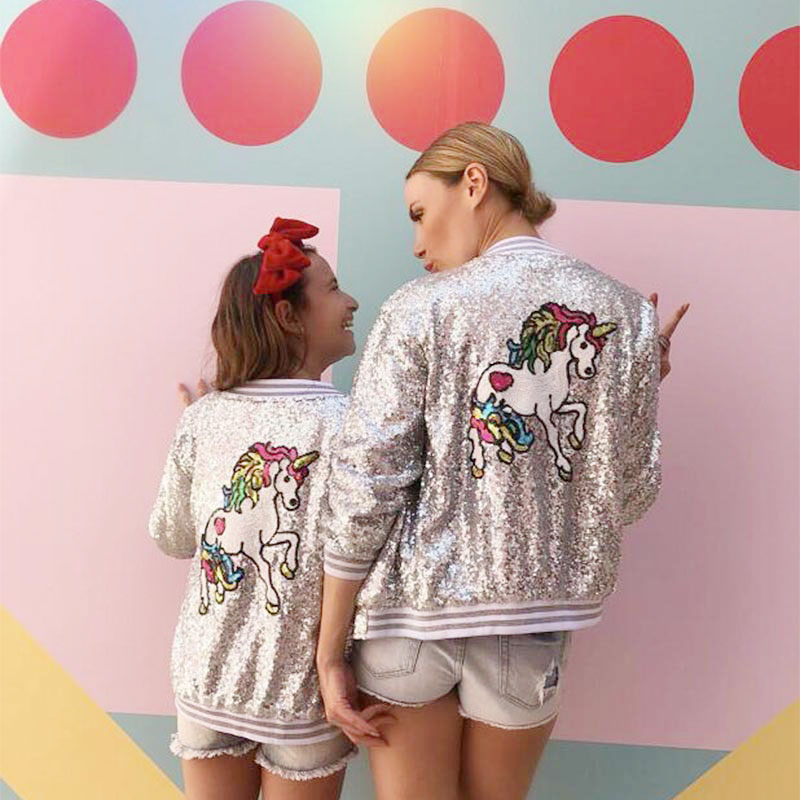 Kids Clothes Sequins Unicorn Girls Jackets Children Outerwear For Baby Girls Zipper Clothing Flight Jacket Coat Costume 2 16Year