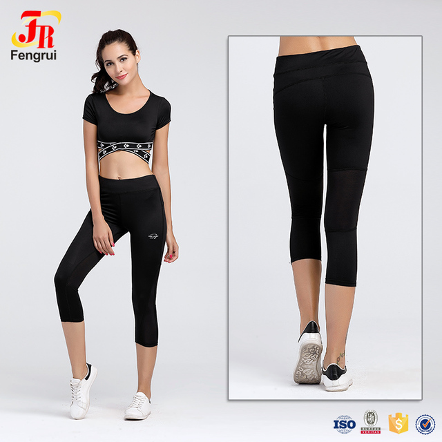 45422bc22eb17b Cody Lundin Stretch Girls Yoga Capri Pants Mesh Patchwork See-Through Legging  Black Capris Elastic Fitness Leggings For Workout
