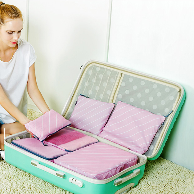 6 ks / lot vysoce kvalitní cestovní zip sáček měkké tkaniny vodotěsné oblečení třídění tašky cestovní přijímat pytel skladování pytel