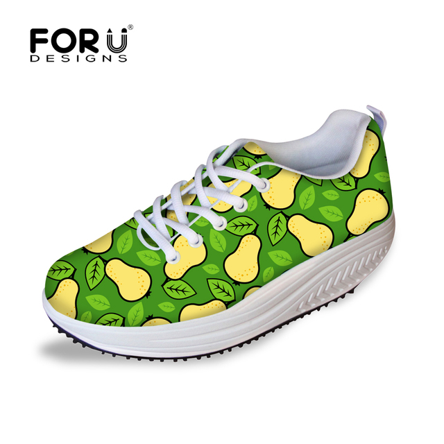 79251353ca1f3 US $49.99 |FORUDESIGNS Casual Women Slimming Swing Shoes 3D Fruit Printed  Flat Platform Shoes for Ladies Increasing Wedges Shoes Female -in Women's  ...
