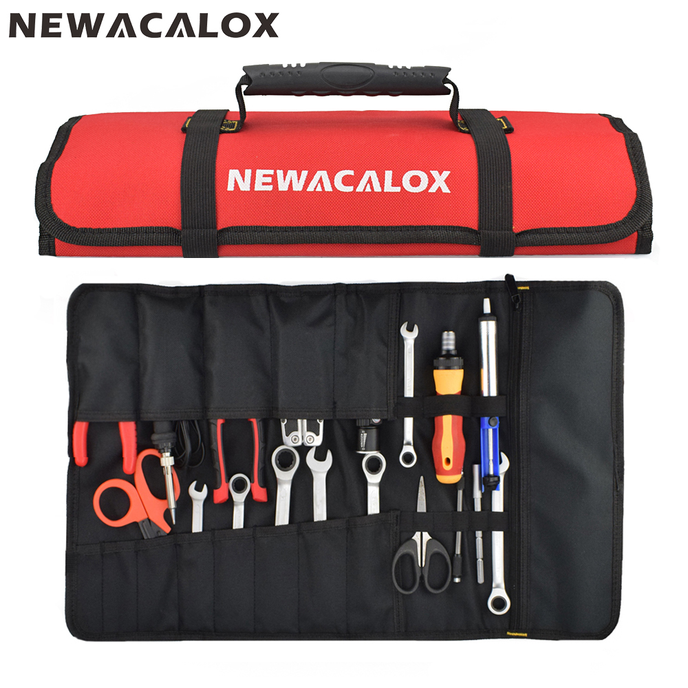 NEWACALOX Tools Bag Multifunction Waterproof Electrician Oxford Pocket Hardware Toolkit Rolled Bag Portable Large Capacity Bags
