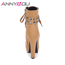 ANNYMOLI Winter Shoes Women Boots Rivet Platform High Heel Boots Lacing Studded Ankle boots Zip Plus Size 33-46 Chaussure Femme