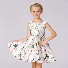 New 3-11 Years Old Girl Dresses Floral Printing Flowers Bow 2017 Summer Elegant Thin Part Costume Classics Kids Dress Clothing