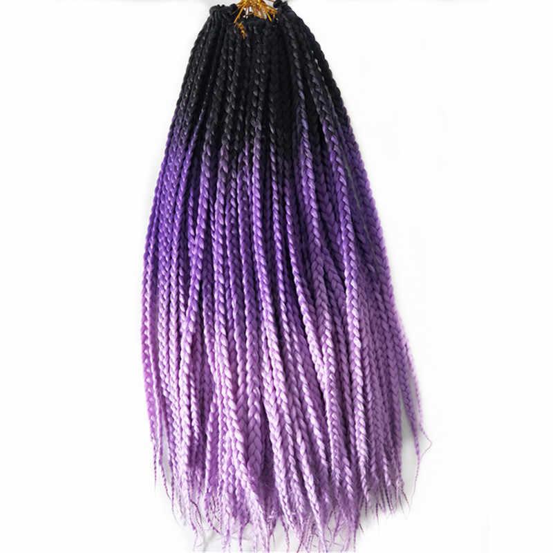 Pervado волосы черного и фиолетового цвета 2 тон Ombre африканские 3 s коробка Оплетка 5 упаковок/лот синтетические крючком предварительно оплетка волосы для наращивания стиль