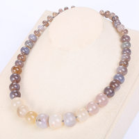 Natural Stone Power Crystal Gray Agate Necklace Female Rainbow Choker Charm Chain Reiki Women Vintage Jewelry Healing Jade Beads