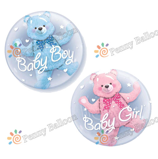 24inch Baby Boy Blue Bear Baby Girl Pink Bear Foil Balloons Globos Birthday Baby Shower Decorations Kids Toys Ball in Balloon