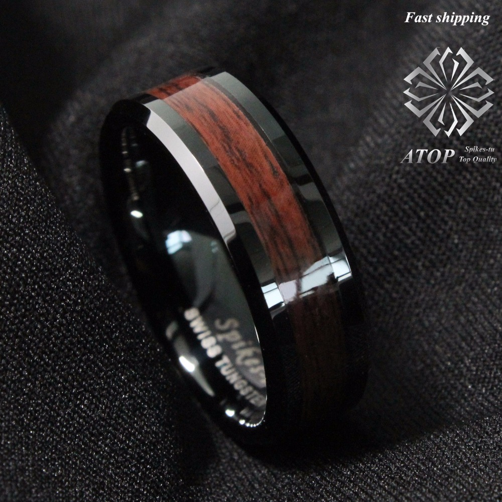 8mm Men's Tungsten Carbide Ring Red Wood Inlay Black Plat