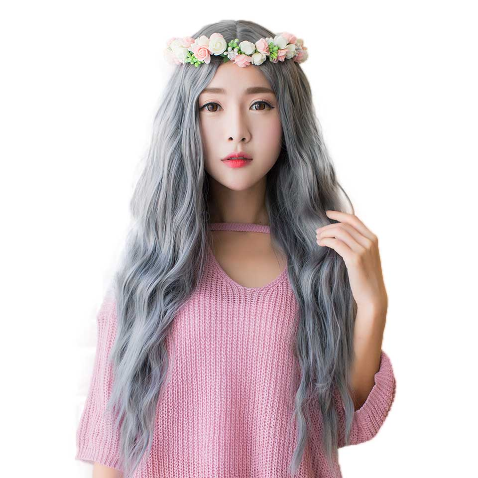 Cosplay Wig Synthetic Long Curly Middle Part Line Blonde Women Hair Costume Carnival Halloween Party AOSIWIG