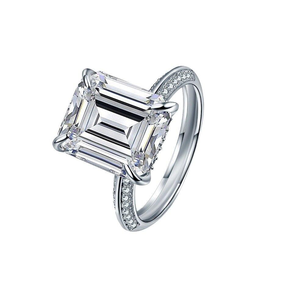 Bague carrée femme luxe 18KT or blanc anneau rempli Vintage mariage bande promesse bague de fiançailles pour les femmes 925 argent Sterling