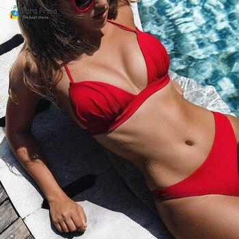 Wrinkled Push Up Bikini Set Halter Simsuit