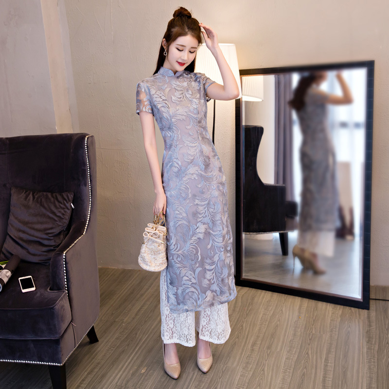 Gray Sexy Lace Flower Traditional Chinese Women Dress Vintage Mandarin Collar Slim Long Cheongsam 2019 New Qipao Without Pants