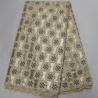 high fashion golden turkish sequins embroidery design african organza lace fabric wholesale swiss organza lace fabric