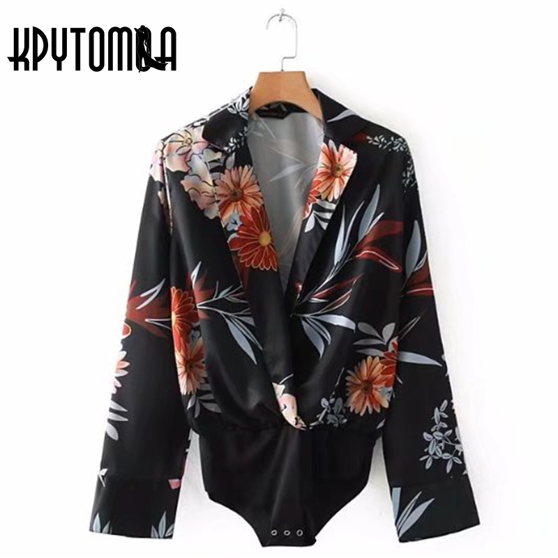 Vintage Elegant Floral Print Crossover Bodysuit Women 2018 New Fashion V Neck Long Sleeve Ladies Playsuits Casual Body Feminino