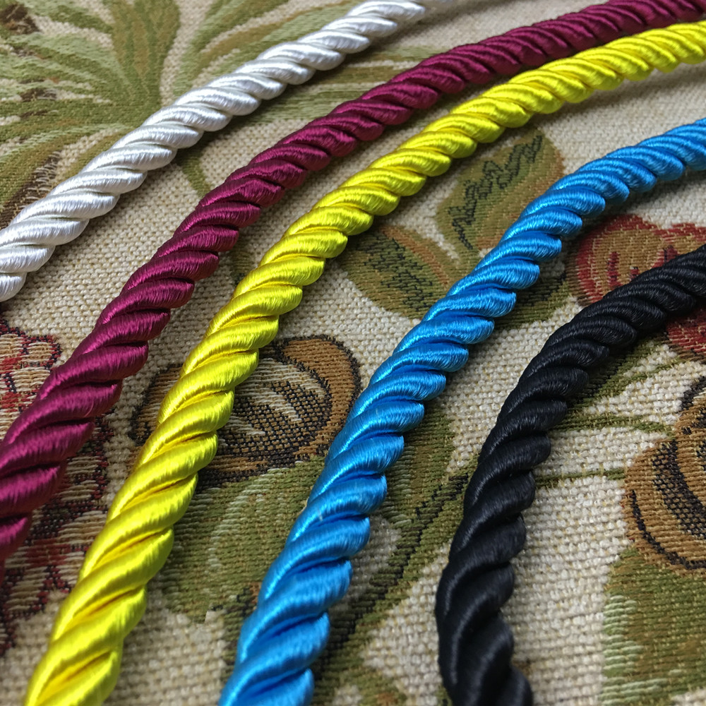 5 Colors Twisted Rope Three strands of Inner Cotton Cord for Sofa Cushion Armchair Bag Decorative Accessories 9 mm diameter