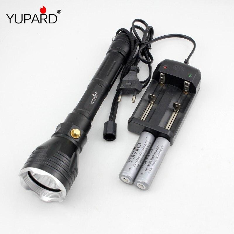 YUPARD Sous-Marine led Lampe Torche XM-L2 T6 ledwhite lumière jaune Étanche plongée 100 m + 18650 batterie rechargeable + chargeur