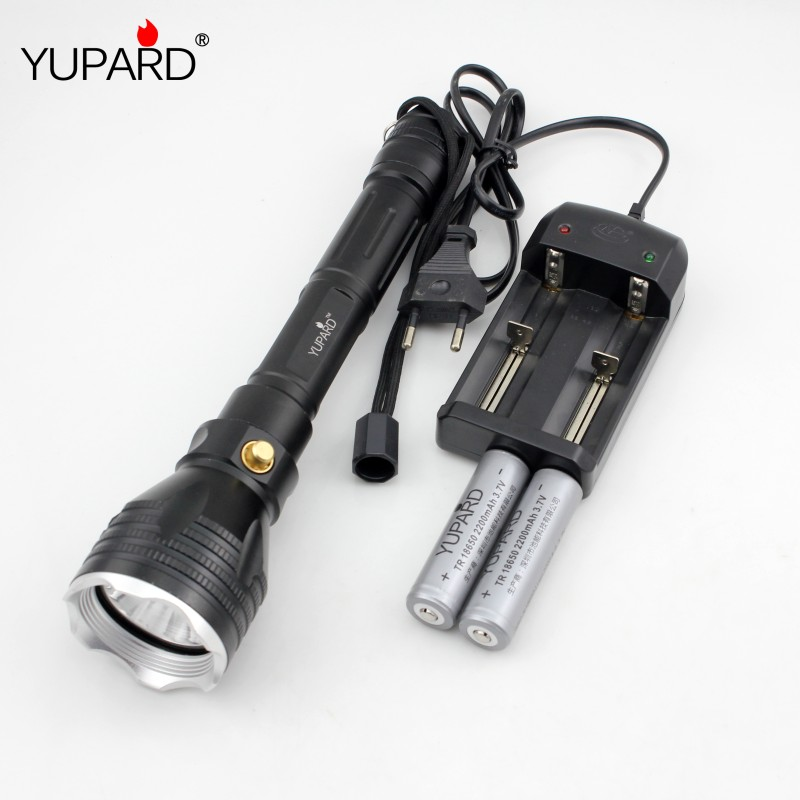 YUPARD Underwater diver Flashlight Torch XM-L2 T6 white yellow light  Waterproof diving 100m+18650 rechargeable battery+charger
