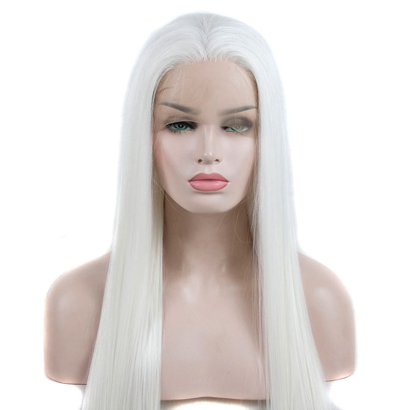 Bombshell Snow White Long Straight Hand Tied Synthetic Lace Front Wig Natural Hairline Heat Resistant Fiber