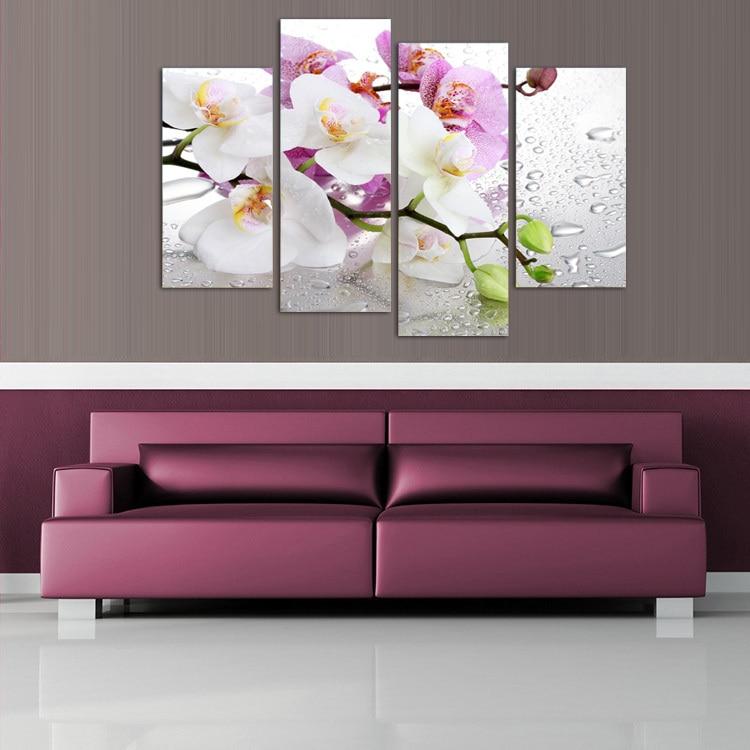 4 panel, Bunga putih tanaman seni dinding lukisan modular mencetak di - Dekorasi rumah - Foto 4