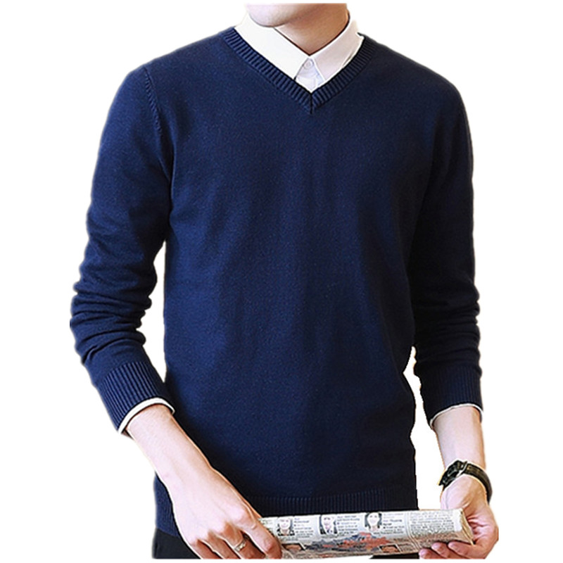 Sweater Men Pullover Knitwear Homme V-Neck Winter Casual New Solid Dress Business Candy-Color
