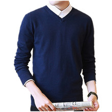 Candy Color Solid Sweater Men 2018 New Casual Winter V neck Pullover Business Dress Sweater Knitwear Pull Homme Knitted