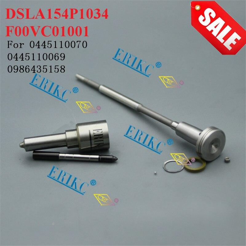 ERIKC 0445110070 Fuel Injector Nozzle DSLA154P1034 Valve F00VC01001 Spare Parts Overhaul Repair Kit CR for 0445110069