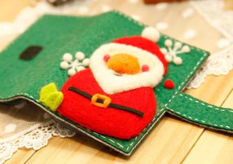 Подарочная карта, шерстяное валяние, набор для рукоделия, Рождественский войлок, материалы для рукоделия, сделай сам, поделки ручной работы, рукоделие с инструментом