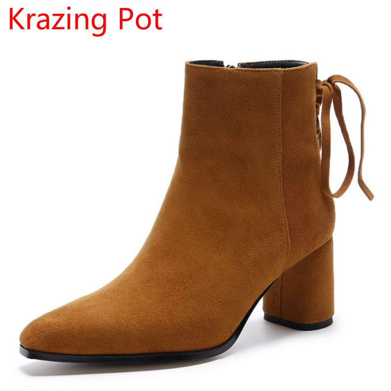 2018 Winter Shoes Sheep Suede Superstar Thick High Heel Tassel Bowtie Gladiator Fashion Boots Pointed Toe Women Ankle Boots L8b krazing pot big szie cow suede slip on thick heel tassel bowtie winter pointed toe fashion superstar runway ankle boots l5f1
