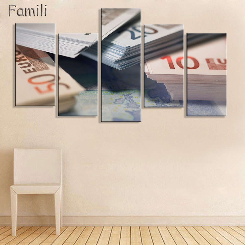 5pcs Banknotes Artwork Canvas Painting Wall Art Canvas Paintings For ...