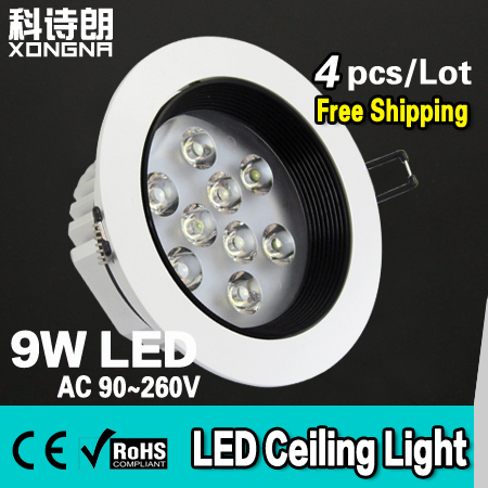 Free Shipping 4pcs/Lot Super Bright 9W LED Ceiling Light with Epistar Chip 100~110 lm/W AC90~260V CE & RoHS Approval north america free shipping super bright 54w led corn light waterproof 100v 300v ul certified 12pcs lot for art museum