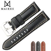 MAIKES Handmade Quality Cow Leather Watch Strap 22mm 24mm 26mm Watchbands Watch Bracelet Balck Watch Accessories For Panerai цена 2017