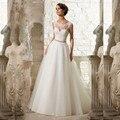 Cheap A-Line Lace Appliques Wedding Dress 2016 Vintage Plus Size Vestido de Novia with Beading Button Sash Sexy Robe De Mariage