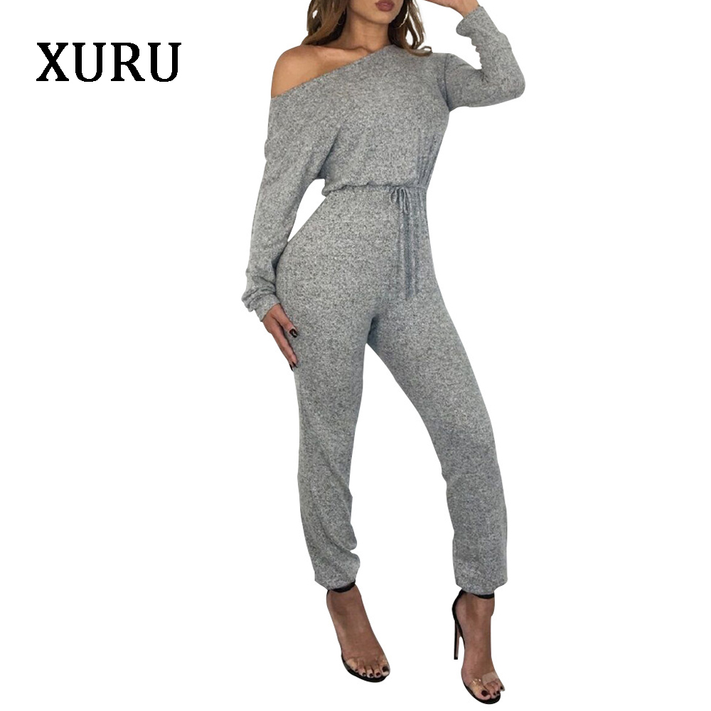 XURU Autumn Women Jumpsuits Long Sleeve Off The Shoulder Lace Up Bodycon Jumpsuit Womens Casual Overalls Plus Size in Jumpsuits from Women 39 s Clothing