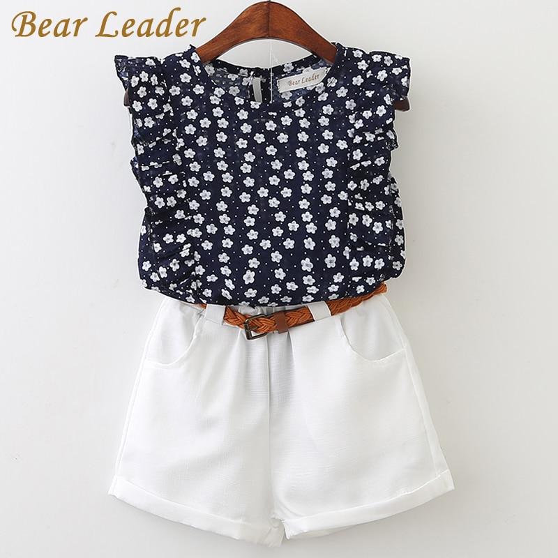 цена  Bear Leader 2017 New Casual Children Sets Flowers Blue T-shirt+ White Pants With Pu Belt Girls Clothing Sets Kids Summer Suit  онлайн в 2017 году