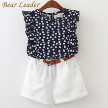 Bear Leader 2018 New Summer Casual Children Sets Flowers Blue T shirt Pants Girls Clothing Sets