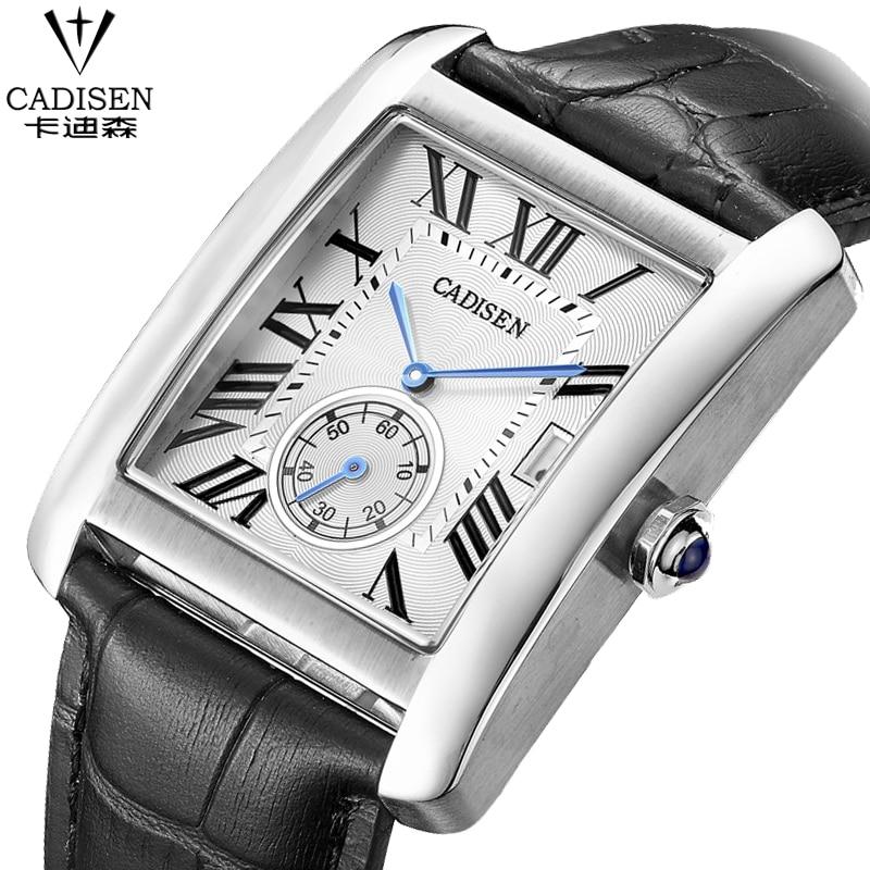 CADISEN Brand Men Watches Fashion Men Military Quartz Wristwatches Luxury Genuine Leather Watches Waterproof Relogio Masculino
